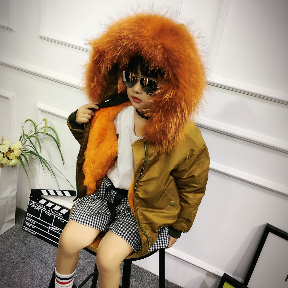Boys Girls Fur Coat Winter Parkas Real Raccoon Fur Collar Hooded Children Outerwear Rabbit Fur Kids Jackets Coats TZ212 new army green long raccoon fur collar coat women winter real fox fur liner hooded jacket women bomber parka female ladies fp890