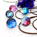 New Stars Ball Glass Collares Duplex Planet Crystal Galaxy Pattern Leather Chain Pendant Maxi Necklace For Womem Girlfriend Gift