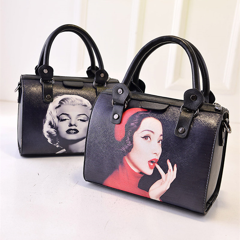 New 2017 Fashion Marilyn Monroe Print Boston Bucket Bag Designer Purses Handbag Women Shoulder Messenger Black In Top Handle Bags From Luggage