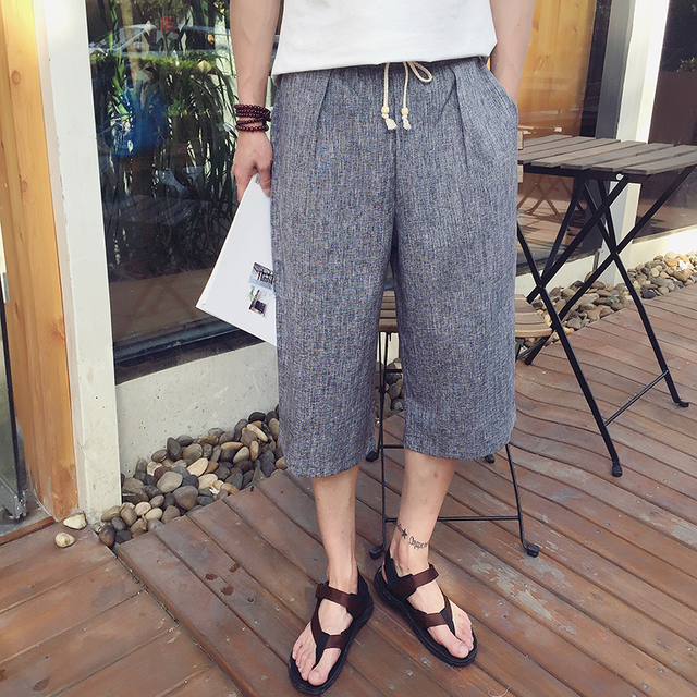 XXXXXL Men's KungFu Pants Cotton Linen Shorts Drawstring Kung Fu Costume taiji Sports Trousers in Chinese Traditional Bottoms