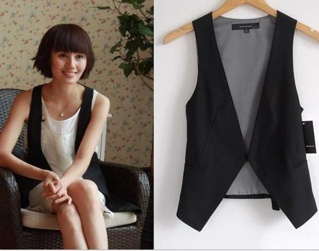 New Fashion summer Women WaistCoat School Girl Sleeveless Covered Button Vest Ladies' Fashion Jacket celebrity BLAZER