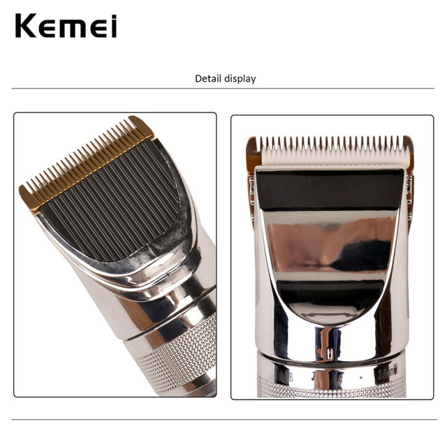 Kemei KM-9801 S4748 Ceramic Cutter Rechargeable Electric Hair Clipper