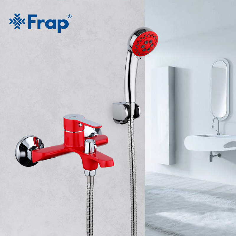 Frap red Bathroom Shower Brass Chrome Wall Mounted Hot and Cold Water Shower Faucet Shower Head