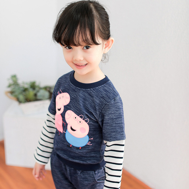 Anlencool 2pcs Cotton Baby Clothing Set Fashion pig Striped Newborn Boy Girl Clothes Suit Cheap Bebes Long Shirt Pants Infant