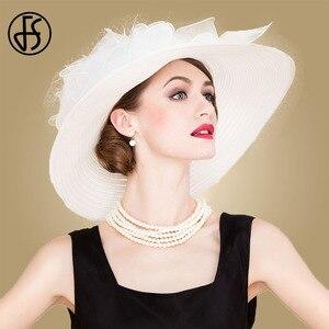 Image 2 - Fsブラックホワイトエレガント女性教会の帽子夏の花大つば帽子ビーチ日ケンタッキーダービー帽子fedora