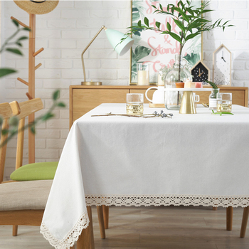 Soild Tablecloth with White Lace Elegant Rectangle Tablecloth Cotton Linen Table Cloth for Home Dinner Tea Table Cover simanfei linen table cloth country style plaid print stylish rectangle table cover tablecloth home kitchen decoration