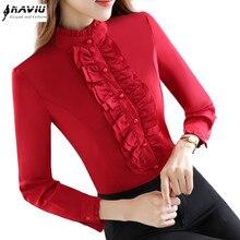 Jesień formalne z długim rękawem kobiety czerwona koszula OL nowy elegancki stojak kolor Rufflus szyfonowa bluzka biurowa, damska bluzka w rozmiarze Plus Size
