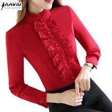 가을 공식적인 긴 소매 여자 빨간 셔츠 OL 새로운 우아한 스탠드 색상 Rufflus 쉬폰 블라우스 사무실 숙녀 플러스 사이즈 탑스