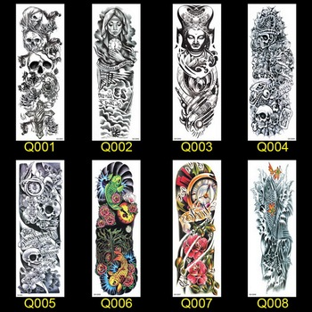 1PC NEW 48*17cm Full Flower Arm Tattoo Sticker 40models Fish Peacock Lotus Temporary Body paint Water Transfer fake Tatoo sleeve 1