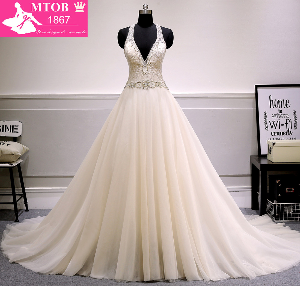 New design a line wedding dress 2017 sexy v neck backless for A line wedding dresses 2017