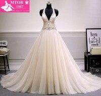 New Design A-line Wedding Dress 2017 Sexy V neck Backless Vestido de Noiva Bride Dresses robe de mariage MTOB1725