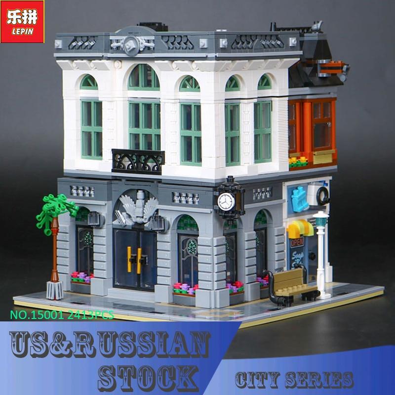 LEPIN 15001 Brick Bank Model Building Kits Blocks Bricks Kits Toy Compatible With 10251 2016 neue lepin 15001 2413 stucke creator ziegel bank modellbau kits blocks bricks spielzeug kompatibel junge brithday geschenk