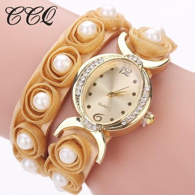 CCQ Brand Women Rose Flower Wristwatches Casual Handmade Braided Ladies Quartz Watch Bracelet Watches Female Clock 2017 Hot