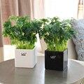 Новые свежие зеленые искусственные цветы горшечные растения керамическая ваза для бонсай в горшке домашний декор товары для вечеринок сва...