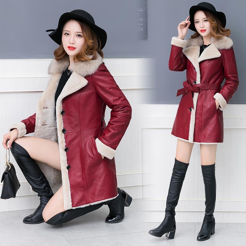 Cuir D'hiver Gros Black Prix En burgundy Femmes Fourrure Chaud Avec Épaisse Manteau Pu Rwfv18q