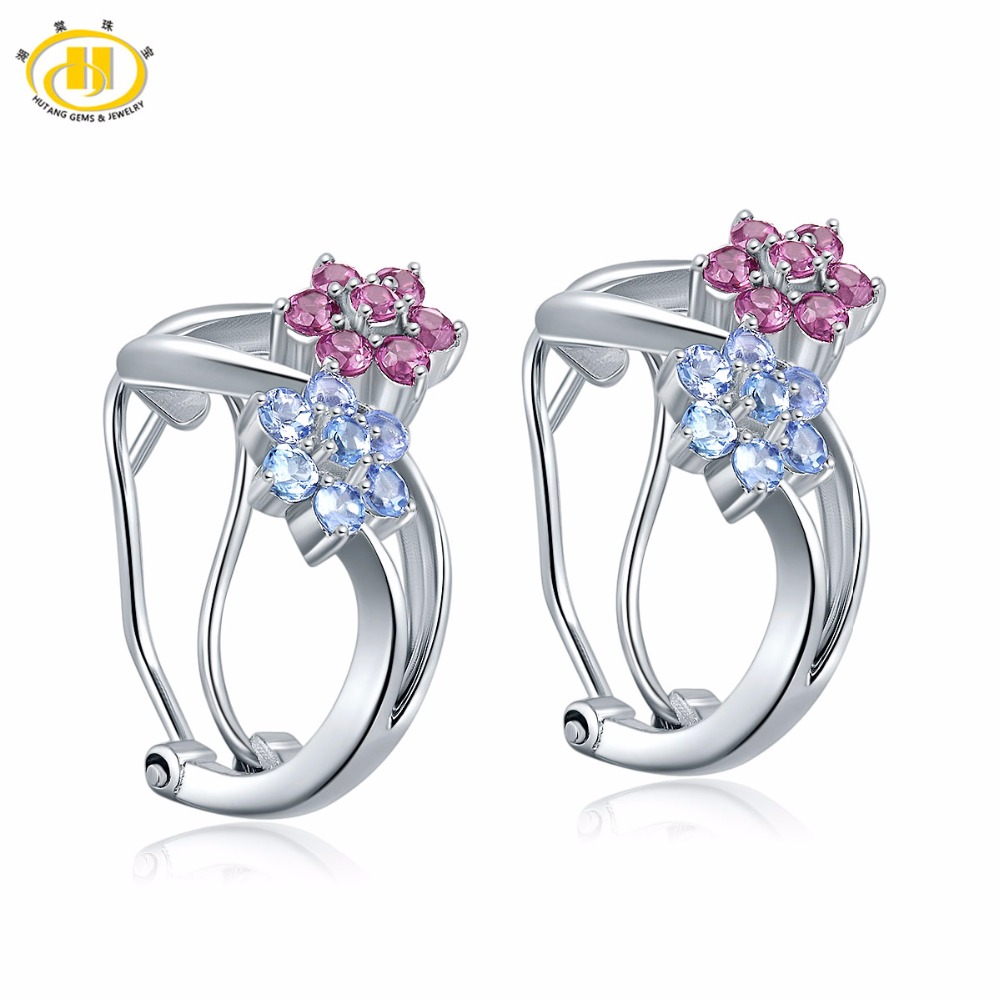 Hutang 1 4ct Natural Tanzanite Rhodolite Flower Earrings Solid 925 Sterling Silver Gemstone Fine Stone Jewelry