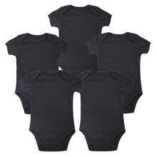Unisex เสื้อผ้าเด็กแขนสั้นฤดูร้อนเสื้อผ้าชุดเด็กผู้หญิงเสื้อผ้า 5 ชิ้น/ล็อตชุดเด็กทารกสีดำบอดี้สูทเด็กสีขาวว่างเปล่า