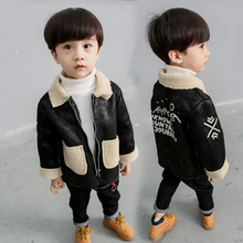 Children's clothing 2-7 years old boy deerskin lamb wool jacket 2018 new children's clothing baby autumn small suit