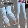 Mulheres rendas de croché strass rendas de croché diamante Leggings Skinny estiramento cortadas calças Capris verão Plus Size S-4XL