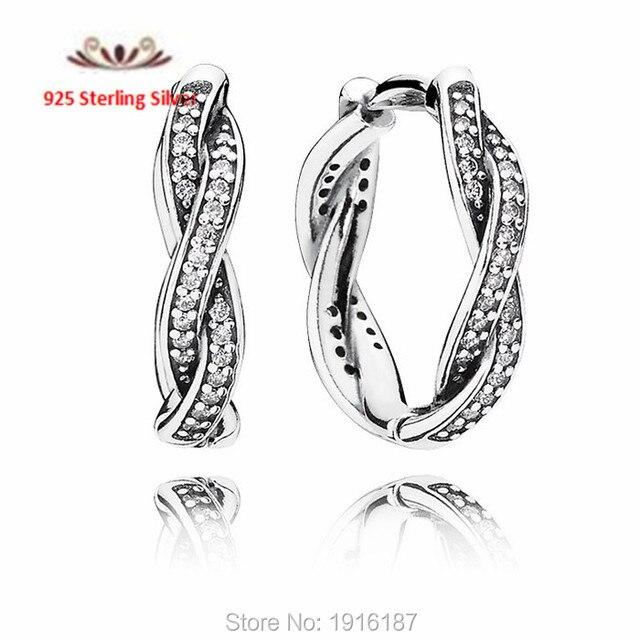 2015 день матери серебряный обруч серьги с фианитами аутентичные 925 для женщин серьги FLE036