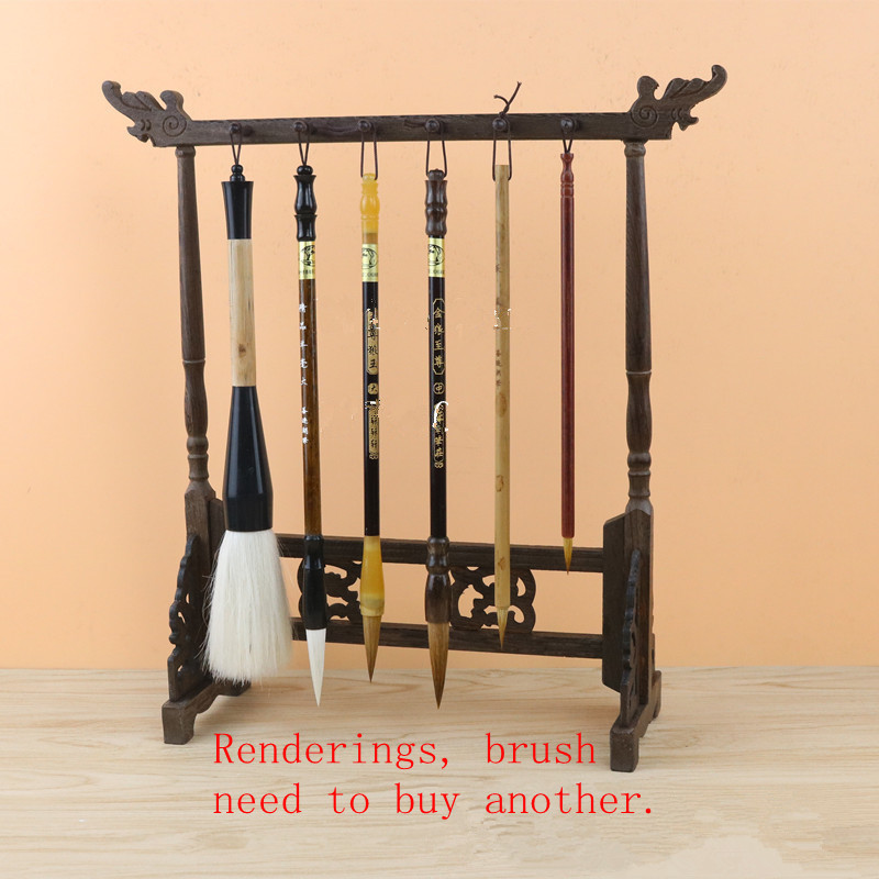 Traditional Chinese Brush Holder Calligraphy Pen Holder Stand 12 Hook Chicken-wing Wood Brush Stand Hanging Pen Holder