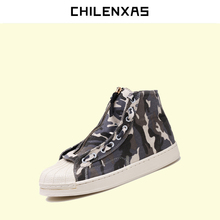 CHILENXAS 2017 Spring Autumn Canvas Shoes Men Casual Zip Camouflage Ankle Boots Light Breathable Height Increasing Hard-wearing
