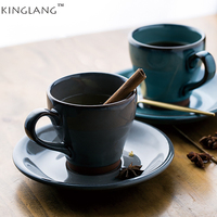 KINGLANG Japanese Style Ceramic Coffee Cup Saucer Water Cup Milk Cup Set