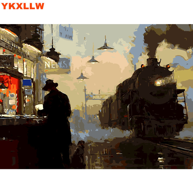 HQ Railway Station Waiting DIY Painting picture By Numbers Wall Art ...