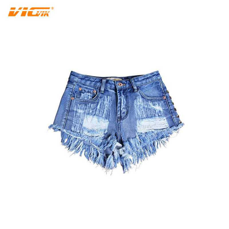 cc5ef3ed3c4 VCVIK Brand jeans woman fashion jean denim slim ripped hole rivet 2017 summer  girl hot shorts CB112-in Shorts from Women's Clothing & Accessories