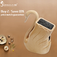 Sowoll Plastic Knife Holder ABS+TPR Handmade Kitchen Knives Stand Big Capacity For Scissors Knives Cooking Accessories