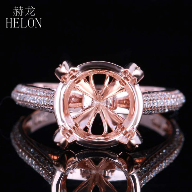 HELON Real 10K Rose Gold Certified Round Cut Engagement Women Trendy Fine Jewelry Elegant unique Diamond Semi Mount Ring SettingHELON Real 10K Rose Gold Certified Round Cut Engagement Women Trendy Fine Jewelry Elegant unique Diamond Semi Mount Ring Setting