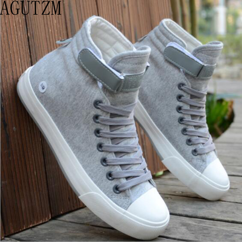 Men Canvas Shoes High-Style Fashion Spring Youth Autumn Black Lace-Up Hot-Sale W