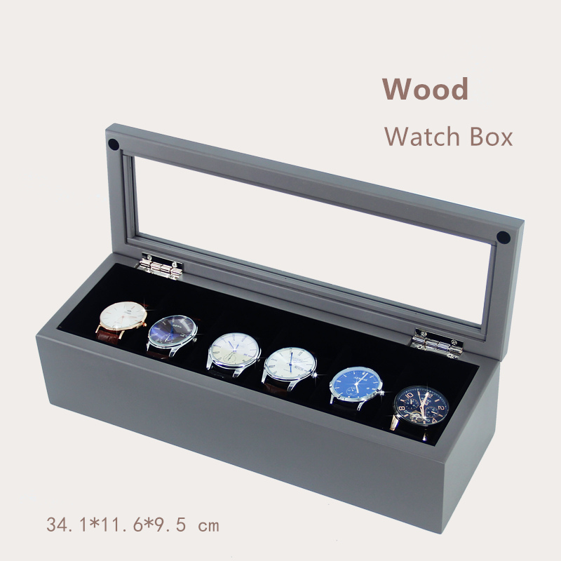 Han 6 Slots Wood Watch Box Black High-grade Watch Display Box Fashion Watch Gift Storage Boxes Jewelry Case With Pillow C029 han 10 grids wood watch box fashion black watch display wooden box top watch storage gift cases jewelry boxes c030