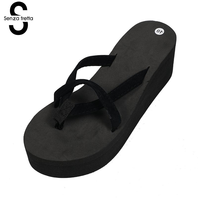 Hot Woman Flip Flops Shoes Pink Black Wedge Platform Flip Flops Women Shoes High Heels Beach Sandals Ladies Thick Slippers women beach flip flops soild wedge platform shoes summer slippers women shoe high heels beach sandals ladies thick high pantufas