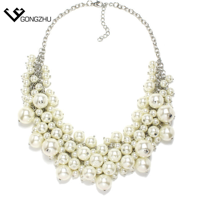New design high quality statement necklace collar Simulated pearl Necklaces & Pendants  fashion necklaces for women G242
