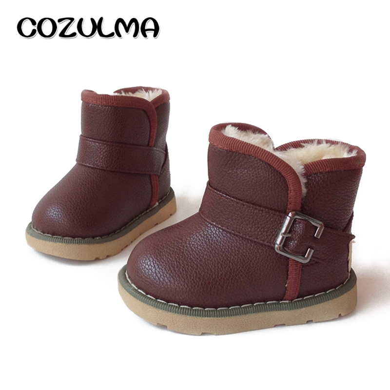 COZULMA Kids Winter Snow Boots Girls Boys Warm Plush Snow Boots Shoes Children Snow Boots with Fur Baby Kids Winter Cotton Shoes