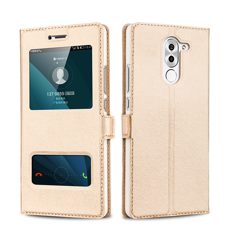 Huawei Honor 6X Case Leather Flip Cover Luxury Protector Capa Coque Honor6x Double Window Couro Fundas Mobile Phone Bag Cases