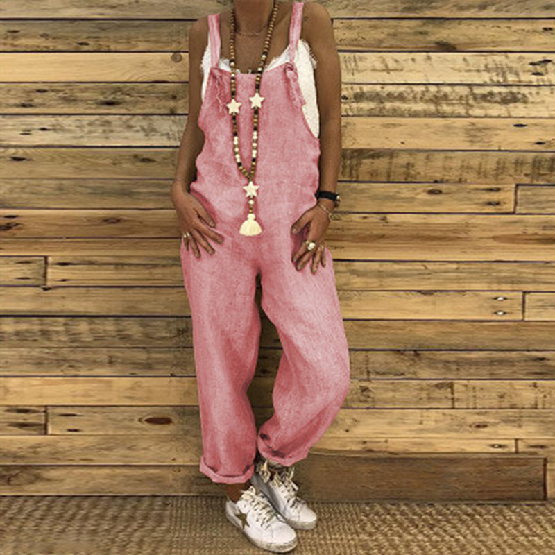 New Vintage Cotton Linen Jumpsuits Casual Women Overalls Wide Leg Pants Vocation Dungarees Long Trousers Female Loose Rompers
