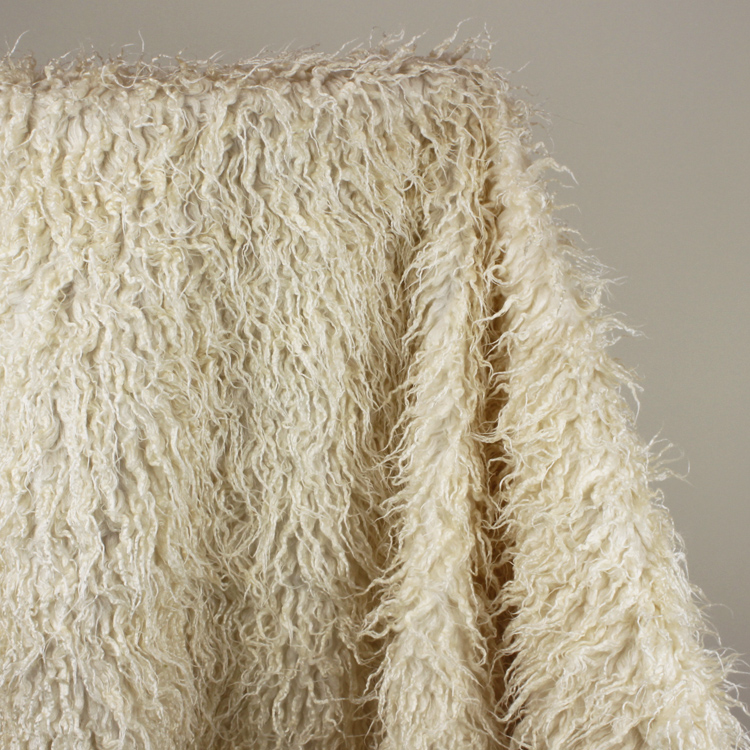"Ivory Mongolian Curly Sheep Faux Fur Fabric Faux Vest Fur Coat Babyfotografi Props 60 ""wide Sold By The Yard"