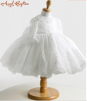 Vintage Long sleeve white/ivory ball gown lace Flower Girl Dress Baby 1 year Birthday christening dress baptism gown with bonnet