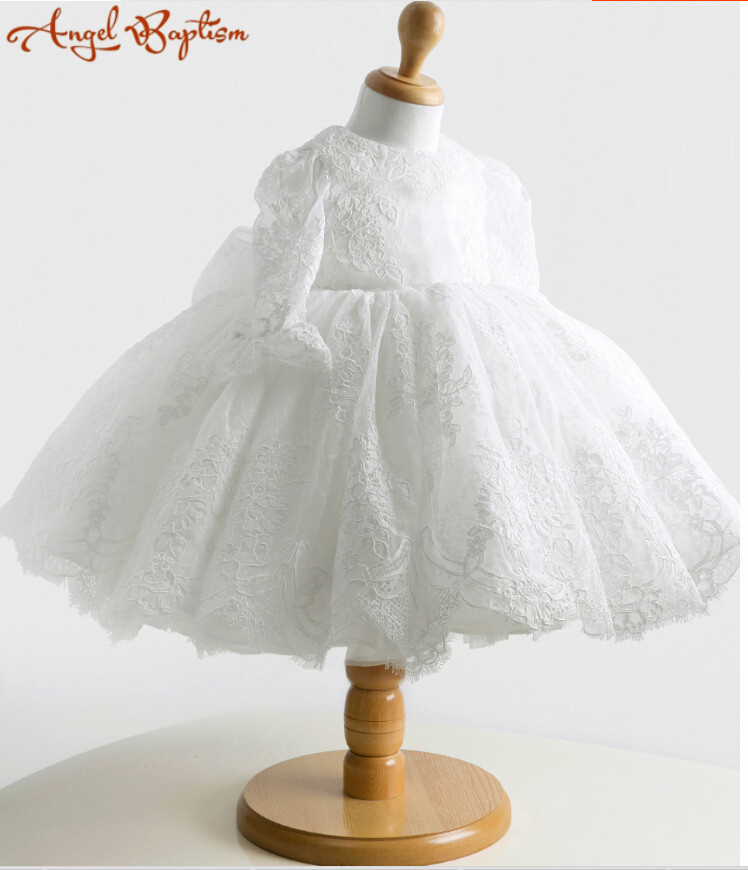 Vintage Long sleeve white/ivory ball gown lace Flower Girl Dress Baby 1 year Birthday christening dress baptism gown with bonnet white christening dress baby girl christening gowns vintage long lace gown baby christenin baptism girl princess dresses