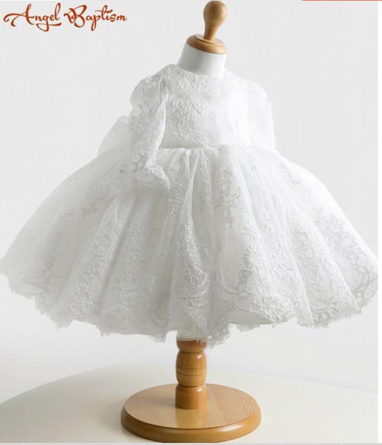Vintage manga Larga blanco/marfil balón vestido de encaje de Flores Niña Vestido Del Bebé Cumpleaños 1 años vestido de bautizo bautismo vestido con el capo