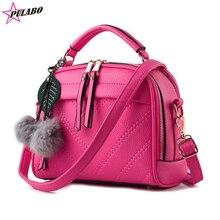 Printemps Nouvelle Mode Petite Femmes d'épaule Sacs Filles sacs à main de couleur de sucrerie Dame messenger sac avec boule pendante