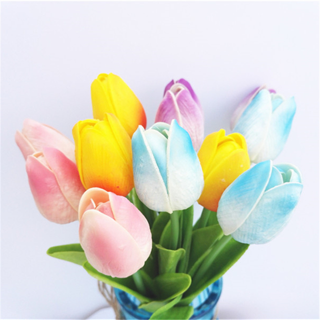 Pink blue purple yellow 12pcs table tulips dutch tulip bouquet pink blue purple yellow 12pcs table tulips dutch tulip bouquet fashion wedding flowers artificial fake bulbs mightylinksfo