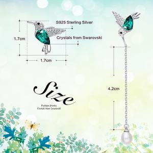 Image 4 - Cdyle 925 Sterling Silver Bird Earrings Embellished with Crystal from Swarovski Stud Earrings for Women Piercing Oreja