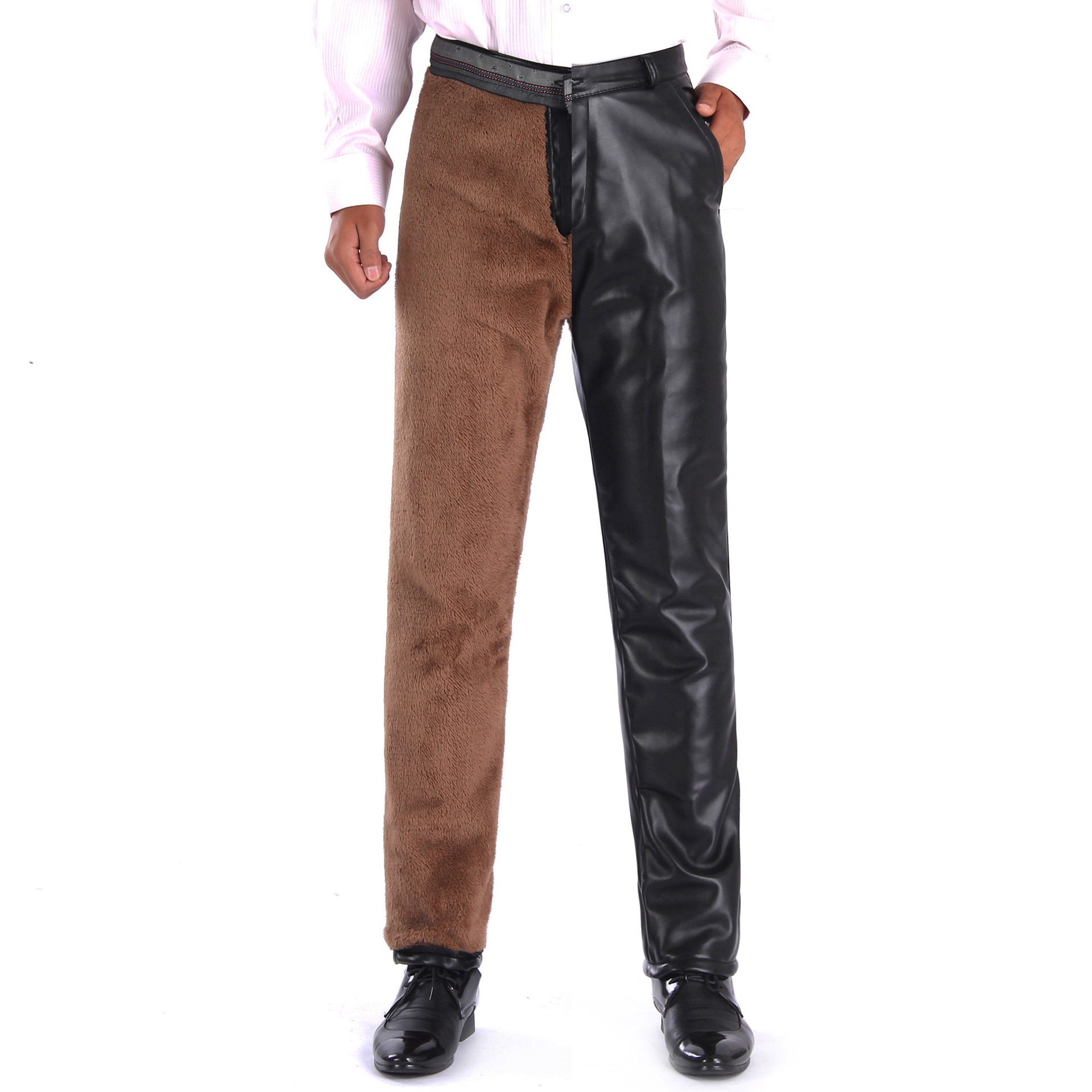 Men Cargo Pants Fashion To Thicken The Warm Wind In Winter Plus Velvet Keep Warm Locomotive Casual Men Leather Pants