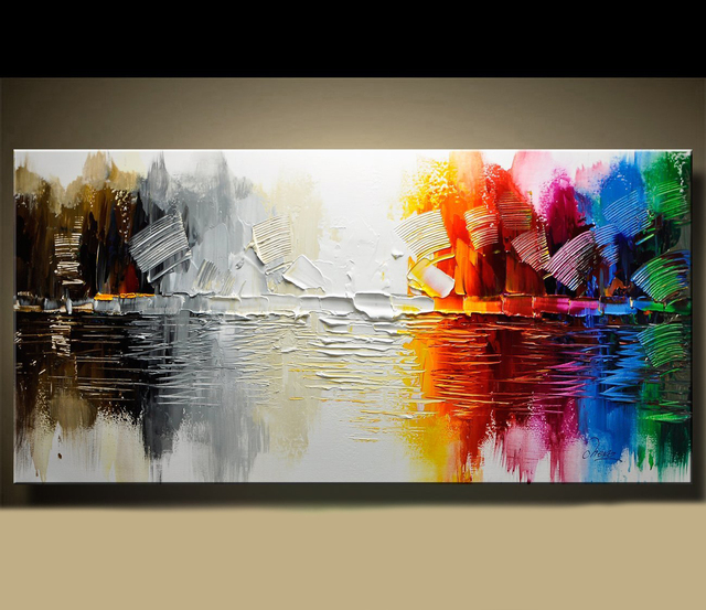 Abstract Modern Canvas Painting, Contemporary Wall Art Acrylic ...