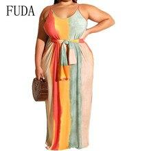 FUDA Explosion Summer Large Size Striped Loose Dress with Waist Belt Sexy Sleeveless Off Shoulder Vintage Maxi Dress for Women off shoulder stripe pattern dress with waist belt