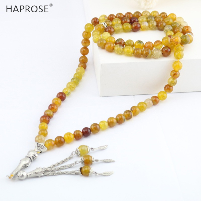 Muslim Natural Fine Jewelry Agate necklace Tea dragon pattern agates beads 4-12mm 99 beads Islamic  tasbih Free shipping