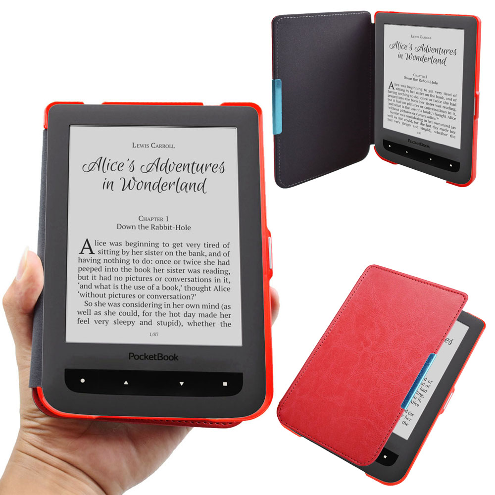 Pocketbook Basic 2 Touch Lux2 Folio Flip Book Cover Case for PB 614 615 624 625 626 ebook eReader Magnetic Closured Pouch Case